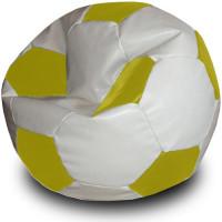 Кресло мяч. Иск. кожа бело-желтый