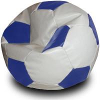 Кресло мяч. Иск. кожа бело-синий